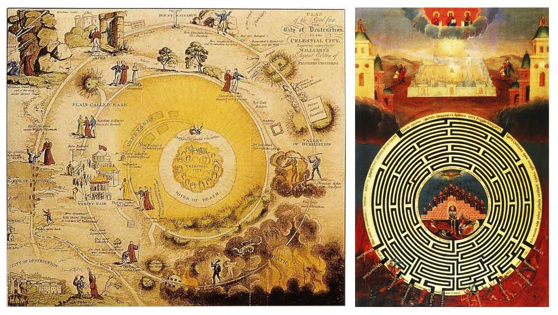 Сравнение карты путешествия пилигрима и иконы Лабирин