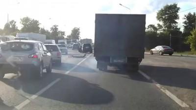 Авария на Ленинградке из-за собаки 03.07.2014 (на 00:50)