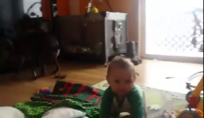 Dog poop ruins baby video to dad