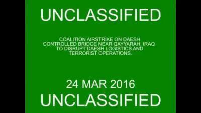 Mar. 24 Coalition conducts strike on Daesh controlled bridge near Qayyarah, Iraq