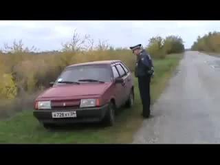 Пьяная баба за рулем