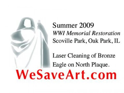 Laser Cleaning of Bronze Eagle in Oak Park, IL. (By CSOS Inc.)