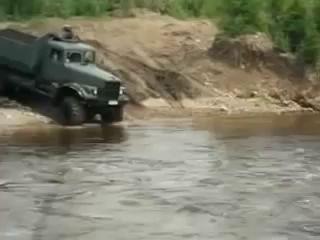 truck KRAZ runs deep ford | КРАЗ глубокий брод