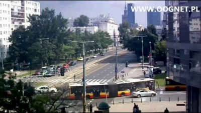 Столкновение автобусов в Варшаве