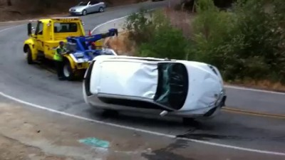 When towing a Mazda goes wrong truck driver fail