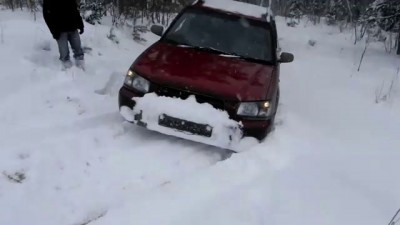 forester offroad with snow chains