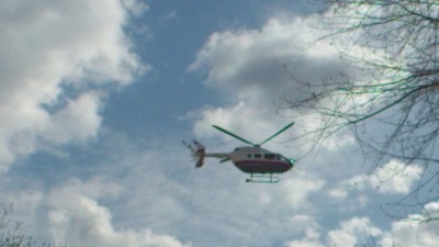 Вертолет МЧС улетает