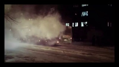 Загорелся автобус. Пермь 21.11.15