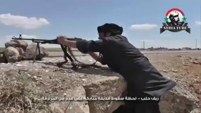 ريف حلب - لحظة سقوط قذيفة مباركة على عدد من المرتزقة