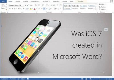 Was iOS 7 created in Microsoft Word?