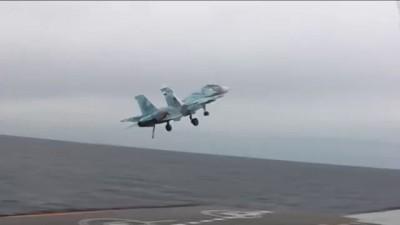 Су-33 неудачно зашел на посадку