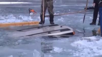 Как вытащить провалившийся под лед автомобиль ?