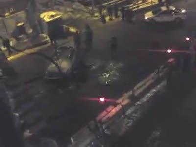 Авария на Войковской автомобиль упал с моста