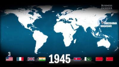 анимированная карта всех ядерных взрывов