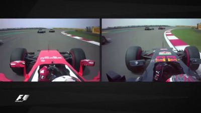 F1 2016 Chinese GP - Onboard with Kvyat and Vettel at Turn 1 HD