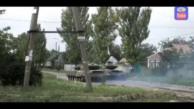 Донецк, Танки ДНР ведут огонь по аэропорту/DNR tanks firing at airport in Donetsk