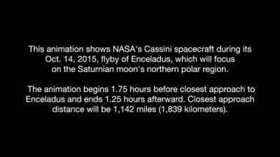 """Animation of Cassini """"E20"""" Enceladus Flyby - Oct. 14, 2015"""