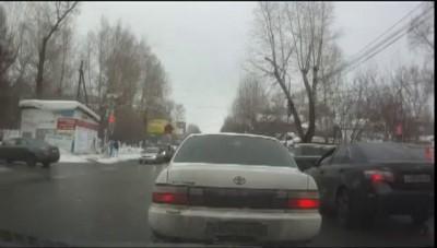 Собака переводит оленя через дорогу