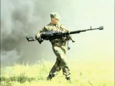 KORD 12,7 mm machine gun(Shooting a machine gun, standing)