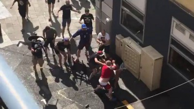 smashing England fans in Marseille