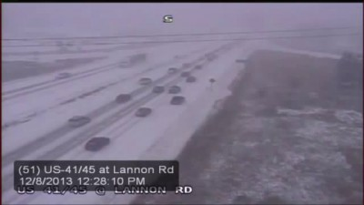 WisDOT video shows multi vehicle pileup on Hwy. 41/45 near Lannon Rd.