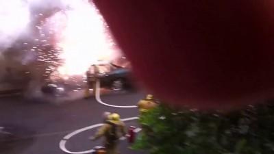 Взрыв горящей машины...