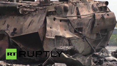 Ukraine_ Destroyed Ukrainian APCs and casualties after ambush near Lugansk _VERY GRAPHIC