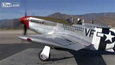 P-51 Mustang старт, взлёт, полёт
