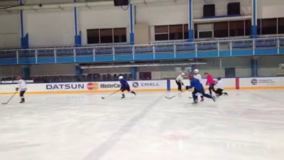 Девочки учатся играть в хоккей