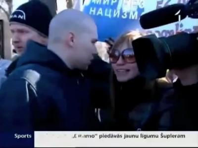 фашистка в Латвии получила по лицу
