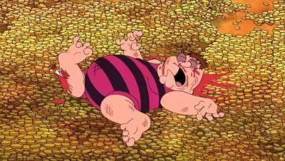 Питер прыгает в золото как Скрудж