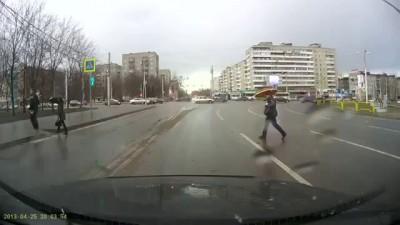 ДТП авария с велосипедистом на пешеходном переходе