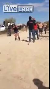 Girl almost gets taken out at a race.