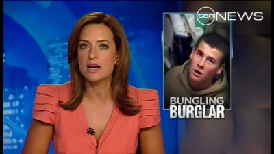 Bungling Burglar Gets Stuck