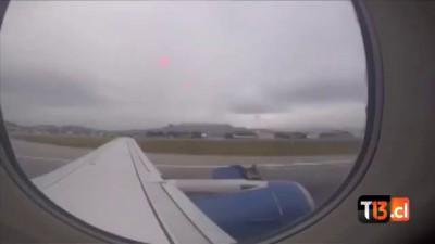 Terrific moment:Passenger films plane engine falling apart on take off