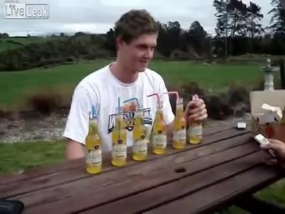 6 Бутылок пива залпом с брутальным салютом в конце