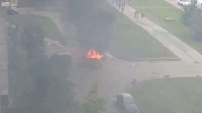 Взрыв авто во дворе