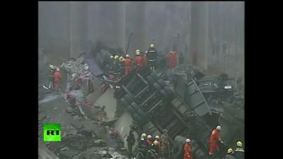 В Китае взорвался грузовик с пиротехникой  (2 видео )