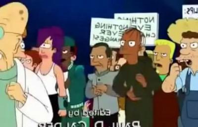 Professor Farnsworth debates Creaturism