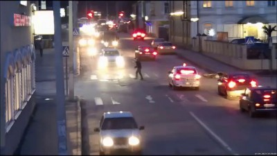 Russian Motorcycle Accident At Intersection