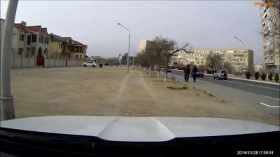 Сопровождение свадебного кортежа полицией в городе Актау