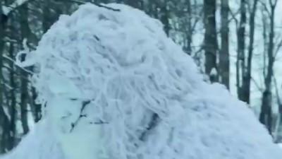 Снежный человек в Минске мешал чистить снег.