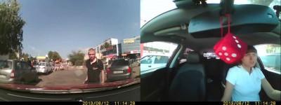 Неадекватный пешеход набросился на автомобиль
