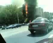 Сильный пожар в Донецке. Горит Рембыттехника