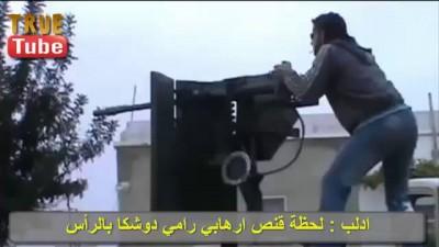 ادلب - البنيان المرصوص : لحظة قنص ارهابي رامي دوشكا بالرأس