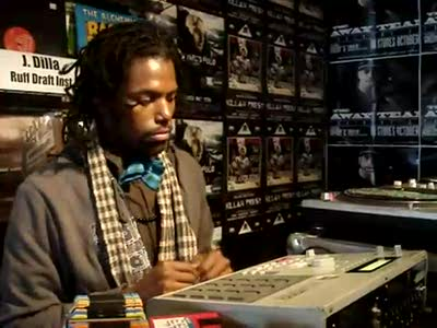 Damu in Fat Beats NYC on the MPC2000