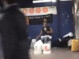 More of amazing street drummer in New York subway.