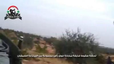 لحظة سقوط قذيفة مباركة فوق رأس مجموعة من المرتزقة الشيشان