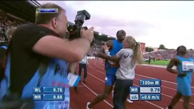 CRASH! Usain Bolt vs blonde girl