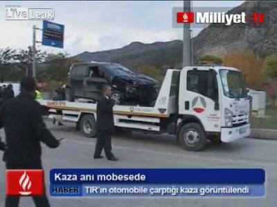 Авариа грузовика и легковой в Турции